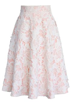 My Dear Roses Lace A-line Midi Skirt in Pink - Skirt - Bottoms - Retro, Indie and Unique Fashion Mode Outfits, Skirt Outfits, Dress Skirt, Lace Skirt, Skirt White, Blush Skirt, Sexy Skirt, Basic Fashion, Modest Fashion