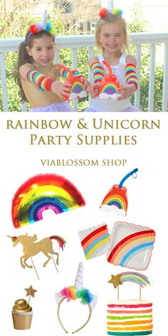 Bring the magic to your Party with our Rainbow and Unicorn Party Supplies!!!  Available at viablossom.com