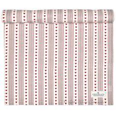 GreenGate Tischläufer MICHA RED Herzen 140 x 45 cm