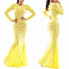 HOT!Women Sexy Lace maxi Dress 2015 new Long sleeve party Club bodycon Dress elegant women yellow Floor-Length long dress