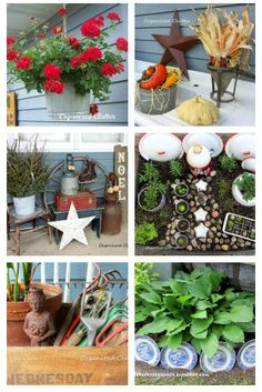 A round up of my best ideas for decorating for all seasons and holidays with outdoor JUNK!