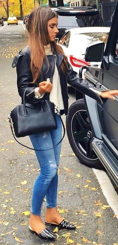 Elegant Stud Loafer Winter Outfits Leather Jacket White Knit Ripped Skinny Jeans