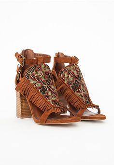 Sandales hautes à franges et motifs aztèques - Chaussures - Talons hauts -  Missguided Sandale Haute 3809a9a306bd
