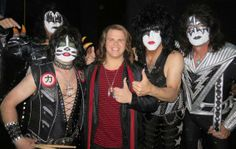 Caleb with Kiss(with make-up) Best Rock Bands, Paul Stanley, Kiss Band, Hot Band, American Idol, Halloween Face Makeup, Singer, Singers