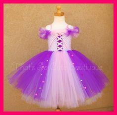 Rapunzel Tangled Inspired Tutu Dress-rapuzel, tutu dress, disney princess, pink, purple, costume, halloween