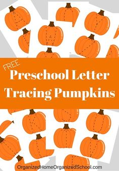 Use these fun preschool letter tracing pumpkins for letter review, fine motor tracing, fall decorating and more!