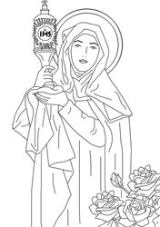 St. Clare coloring page. This site has all kinds of great Catholic coloring pages!  we need to put some together in a book for the kids