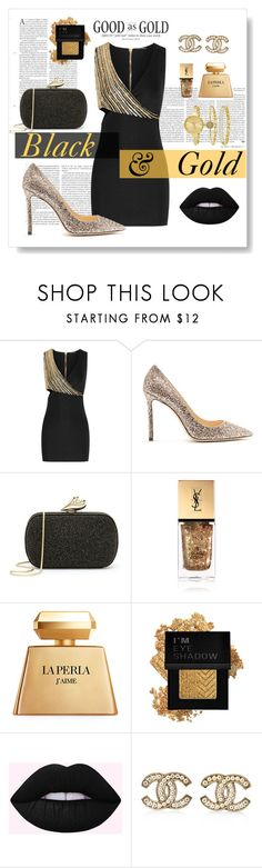 """""""Black & Gold"""" by riitciii ❤ liked on Polyvore featuring Balmain, Jimmy Choo, Diane Von Furstenberg, Yves Saint Laurent, La Perla, Forever 21, Chanel and SO & CO"""