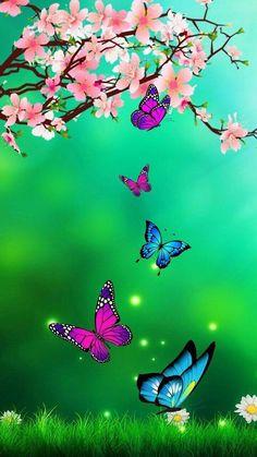 Blue Butterfly Wallpaper, Wallpaper Nature Flowers, Butterfly Background, Beautiful Landscape Wallpaper, Flower Background Wallpaper, Beautiful Flowers Wallpapers, Flower Phone Wallpaper, Cute Wallpaper Backgrounds, Butterfly Art