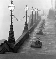 Lampposts and Benches by the River Thames by John Gay
