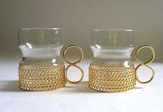 IITTALA Timo Sarpaneva 'KARAATTI' Gold TEA GLASSES x 2. Finland Tsaikka