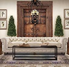 English Chesterfield Sofa Living Room Couch Furniture Pewter Nail Head Hardware