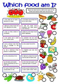 WHICH FOOD AM I? - vocabulary practice - English ESL Worksheets for distance learning and physical classrooms English Games, English Activities, Preschool Activities, Preschool Worksheets, Cognitive Activities, English Lessons, Learn English, English English, French Lessons