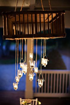 Chicken Crate Chandelier - I bought one of these at a flea market, now I have an idea of what to do with it