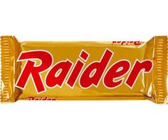 Raider was available in Austria, Belgium, Denmark, Finland, France, Germany, Greece, Italy, Luxembourg, the Netherlands, Norway, Poland, Portugal, Spain, Sweden, Switzerland, and Turkey for many years before its name was changed to Twix in 1991 (2000 in Finland, Denmark, Norway, Sweden and Turkey) to match the international brand name. #LostBrands