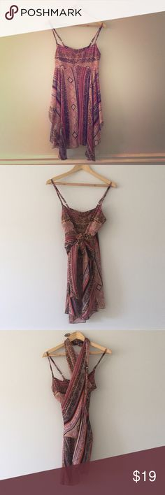 Chic summer boho dress/top/swim cover-up Wear it three ways. Super comfortable in the summer heat. Hidden zip closure at back. Can also be worn as a top X7 Girl Swim Coverups