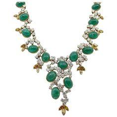 Cartier Paris Emerald and Diamond Statement Yellow Gold Necklace | 1stdibs.com