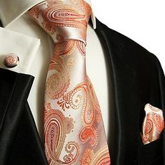 c1f970f7437 871CH Silk Necktie SET BY Paul Malone Coral Paisleys