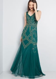 Elegance Abounds Beaded Maxi Dress - The luxe qualities of this deep teal maxi dress are truly limitless! Gleaming with gold and seaglass-hued beads in swirling patterns atop ethereal mesh, this sleeveless gown touts sophistication beyond measure. Unique Dresses, Pretty Dresses, Beautiful Dresses, Vintage Dresses, Beautiful Clothes, Evening Dresses, Prom Dresses, Long Dresses, Formal Dresses
