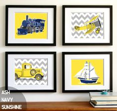childrens wall art Boys chevron transportation art airplane truck train boat nursery art - yellow and grey boys wall art, boys nursery art. $45.00, via Etsy.