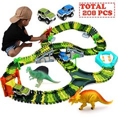 Jurassic Dino World Flexible Car Race Tracks with 2 Dinosaurs and a Toy Car Gift for Kids Boys and Girls Zmoon Dinosaur Toys Race Track Sets