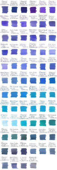 Blue Fountain Pen Ink Comparison - JetPens.com