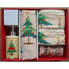 Carnation Home Fashions O Christmas Tree Holiday Print 16-Piece Shower Curtain Set | Wayfair
