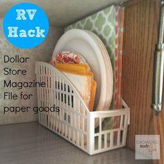 RV Hack - inexpensive dollar store magazine file for paper goods ::OrganizingMadeFun.com