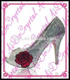 Aidocrystal sexy pumps heels shoes large size crystal peep toe shoes decorated with rose flower pattern