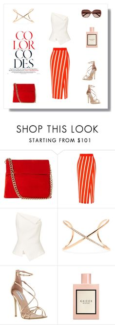 """""""Color Codes"""" by the-way-she-wears-it-finspo ❤ liked on Polyvore featuring Karen Millen, Roland Mouret, Roberto Marroni, Steve Madden, Gucci and Chloé"""