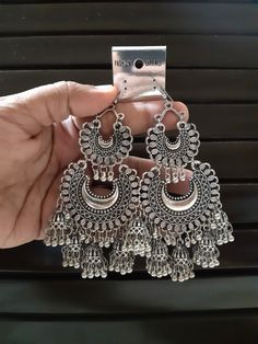 Oxidised Drop Earring by CKSTORE - Online shopping for Earrings on MyShopPrime - Indian Bridal Jewelry Sets, Indian Jewelry Earrings, Bridal Jewelry Vintage, Fancy Jewellery, Silver Jewellery Indian, Bridal Jewellery, Women's Jewelry Sets, Stylish Jewelry, Cute Jewelry