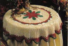 Free Crochet Pattern ~ Poinsettia Tablecloth