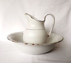 White enamel pitcher and bowl