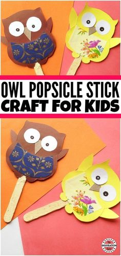 Owl popsicle craft for kids #preschoolcraft #popsiclecrafts #kidscrafts #craftyideas #preschool #kindergarten #owl #kbnmoms #papercraft #paperart #papercrafting
