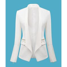 Solid Color Zipper Design Casual Style Lapel Long Sleeve Women's Blazer, WHITE, M in Blazers | DressLily.com