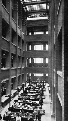 part of this building fell  on my first car.  Chapter 22: Interior Atrium of the Larkin Building in Buffalo, New York. Architect, Frank Lloyd Wright. Beginning of open office systems.