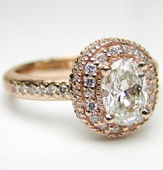 This is gorgeous! - Oval Diamond Engagement Ring with double halo and diamond band in 14K Pink Gold 0.52 tcw.