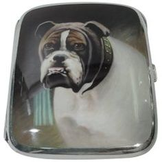 European Silver and Enamel Cigarette Case with Bulldog