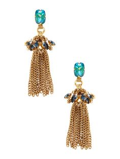 Crystal Tassel Drop Earrings by Elizabeth Cole at Gilt