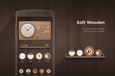 'Soft wooden' Icon set & Widget Design on Behance Ui Ux, Icon Set, Behance, Touch, Design, Icons