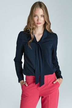 Dark Blue Office Shirt with Tie Fabric: Polyester Lycra Great Style is Worth the Wait! Blouse Marine, Blue Office, The Office Shirts, Blouse Models, Blue Dresses, Long Sleeve Tops, Chiffon, Clothes For Women, Stylish
