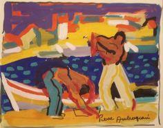 Lot : Pierre AMBROGIANI (1907-1985) - Pêcheurs | Dans la vente Tableaux, Dessins et Sculptures des XIXe et XXe (Liste), Mobilier, Objets d'Art à Piasa