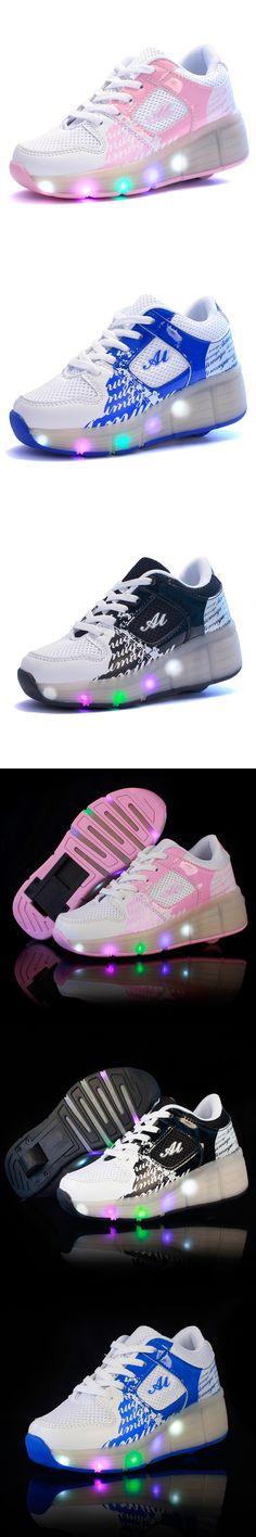 2016 Child Jazzy Heelys, Junior Girls/Boys LED Light Heelys, Children Roller Skate Shoes, Kids Sneakers size 28-40