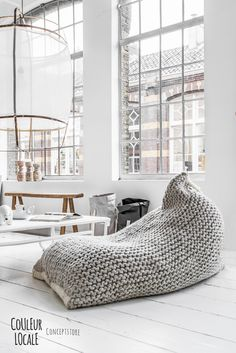 Le pouf Nest Zilalila - - Zilalila Nest Bean Bag couleur locale knitted pouch home deco interior inspiration industrial grey knitwear oversized lamp Bean Bag Design, Home And Deco, My New Room, Home Fashion, Design Case, Interiores Design, Rustic Furniture, Glass Furniture, Furniture Chairs