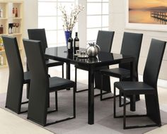 Riggan Black Leg Table with Black Vinyl Chairs Set by Acme Furniture at DREAM HOME INTERIORS - KENNESAW 400 ERNEST W BARRETT KENNESAW, GA 30519 770-426-9111