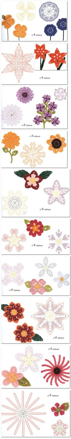 #Crochet_Stitches - So many pretty crochet flowers with charts! 4U from #KnittingGuru