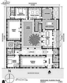 Interior Courtyard House Plans, Courtyard Design, Castle House Plans, House Floor Plans, House Layout Plans, House Layouts, Luxury House Plans, Modern House Plans, U Shaped House Plans