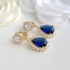 dafa81175706 Sapphire Blue Clip On Bridal Earrings-Aoi