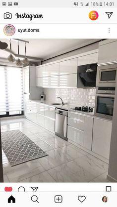 Modern Home Decor Kitchen Kitchen Room Design, Kitchen Cabinet Design, Modern Kitchen Design, Home Decor Kitchen, Interior Design Kitchen, New Kitchen, Home Kitchens, Kitchen Ideas, Modern Design