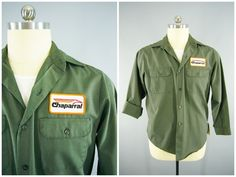 1970s Vintage Sears Perma-Prest Chaparral Snowmobiles Mechanics Work Shirt XL  #Sears #WorkShirt